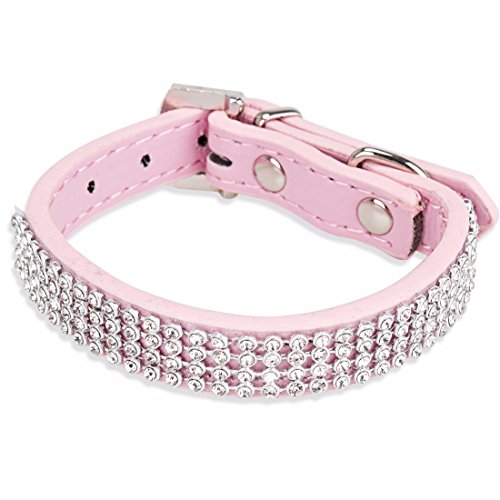 Diamond Halloween Costume (iEFiEL Cats Pups Punk Fashion Bling Bling Diamante Safe Collar Adjustable Size Pink One)