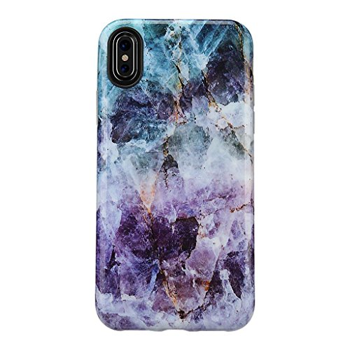 iPhone X Marble Case/iPhone XS Case,GOLINK Glossy Marble Series IMD Printing Slim-Fit Ultra-Thin Anti-Scratch Shock Proof Dust Proof TPU Gel Case for iPhone X/iPhone XS - Purple Marble