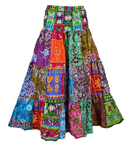 Gypsy Skirt Printed - BONYA Women's Hippie Boho Colorful Patchwork Smocked Stretch Waist Tiered Long Skirt (Color37)