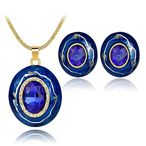 Blue Enamel Jewelry (Ezing Handcrafted Blue Enamel Jewelry Set for Women Costume Pendant Necklace Earrings (X))