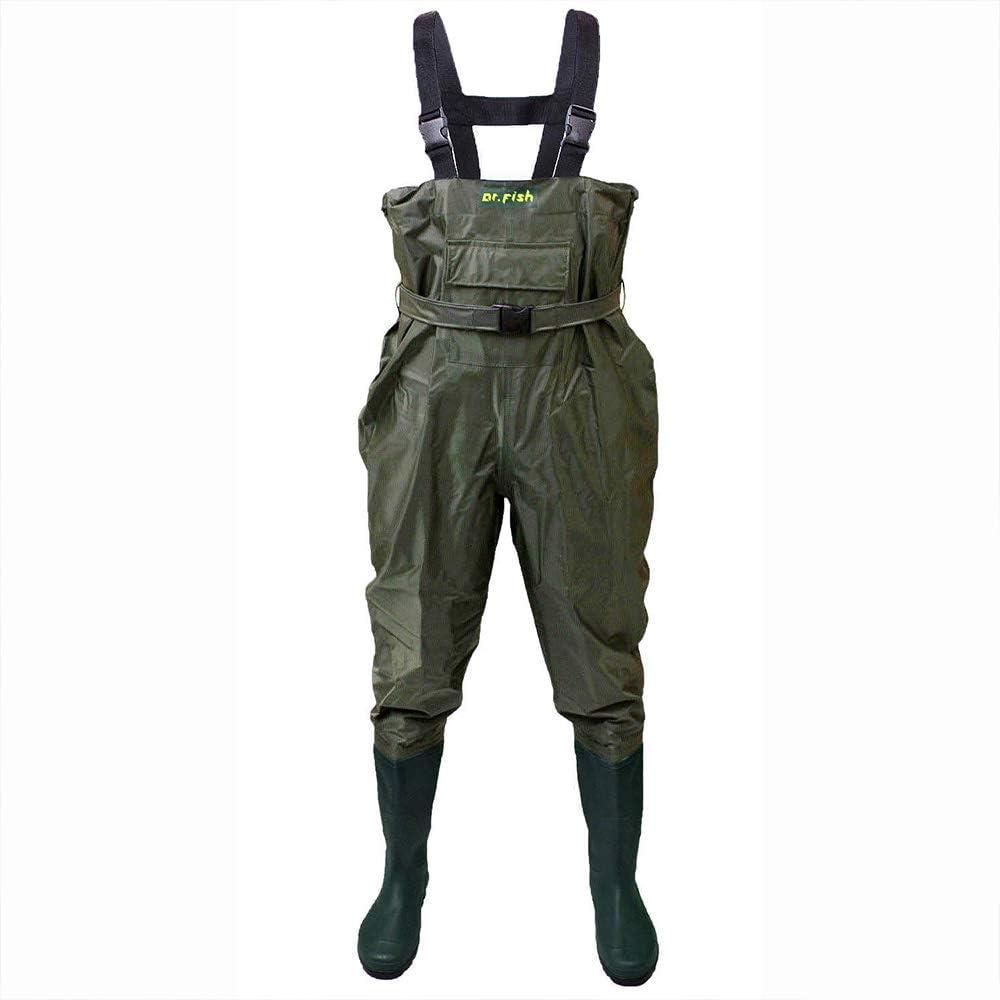 Nylon y PVC con cintur/ón de vadeo FISHINGSIR Vadeador de Pesca para Hombre 100/% Impermeable Botas de Pesca
