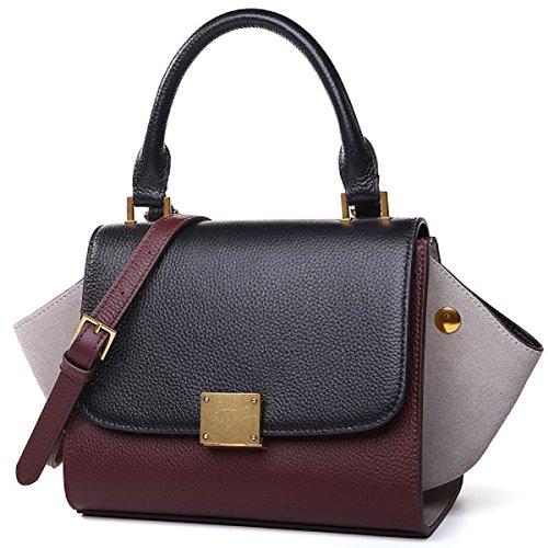 épaule winered à Femmes gray chauve en épaule tout cuir sac diagonale souris Hit fourre couleur sac élégant main paquet Black C8qUC