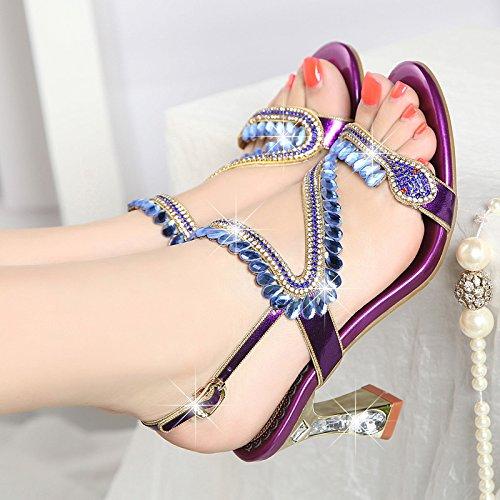 Bruto Alto De Perforación T The De Insertos De Sandalias Mujer Agua Pescado Con Zapatos De Purple SUHANG De De En Sandalias Boca De Diamantes Los Tacón Zapatos Zapatos Mujer wIpq0zRPxg