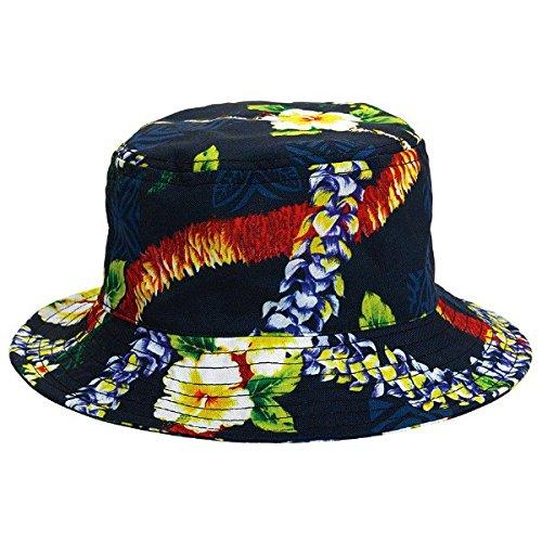 Amscan Summer Hibiscus Prints Bucket Hat Hawaiian Luau Costume Dress Up Party Men's Headwear, Blue, Fabric, 4