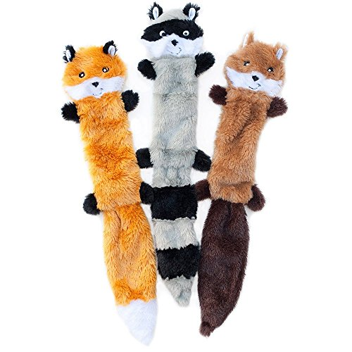 ZippyPaws - Skinny Peltz No Stuffing Squeaky Plush Dog Toy, Fox, Raccoon, and Squirrel - Large Chew Small Animal Toy