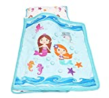 Everyday Kids Toddler Nap Mat with Removable Pillow -Underwater Mermaids- Carry Handle with Velcro Strap Closure, Rollup Design, Soft Microfiber for Preschool, Daycare, Kindergarten Sleeping Bag