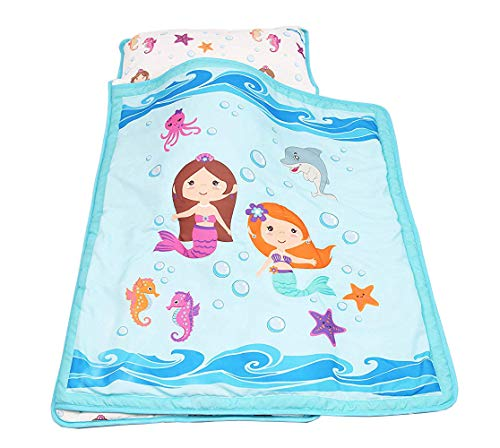 Everyday Kids Toddler Nap Mat with Removable Pillow -Underwater Mermaids- Carry Handle with Velcro Strap Closure, Rollup Design, Soft Microfiber for Preschool, Daycare, Kindergarten Sleeping Bag by Everyday