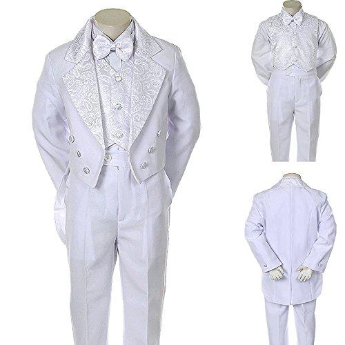 Unotux Boy White Paisley Vest Suit Tuxedo Bow Tail Baptism Christening Communion (4T) (White Long Tail Tuxedo)