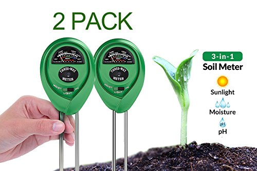 Dodoshop 2Pack 3-in-1 Soil pH Meter Moisture Meter Light Test Kit Great for Garden,Lawn,Farm,Plants, Gardening Tools, Indoor Outdoors Plant Care Soil Tester (No Battery Needed)
