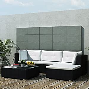 Sectional PE Wicker Rattan Sofa Set of 5 Pcs, Outdoor Patio Furniture, Black