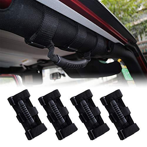 4X Roll Bar Grab Handles for Jeep Wrangler, Fit for 1995-2018 Jeep Wrangler YJ TJ JK JKU Sports Sahara Freedom Rubicon X & Unlimited X 2/4 Door Roll Bar (Black) ()
