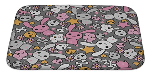Gear New Pattern with Doodle Hawaii Illustration Bath Rug Mat No Slip Microfiber Memory Foam by Gear New