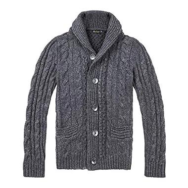 BOTVELA Men s Shawl Collar Cardigan Sweater Button Front Solid Knitwear (L 96b3448a7