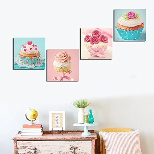 Shuaxin Modern Home Decor Kitchen Wall Art Delicious Cup Cake Paintings on Canvas Coffee Bar Wall Decals 1212 X4pcs Frameless