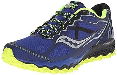 Saucony Men's Peregrine 6 Trail Running Shoe,Blue/Citron/Black,7 M US