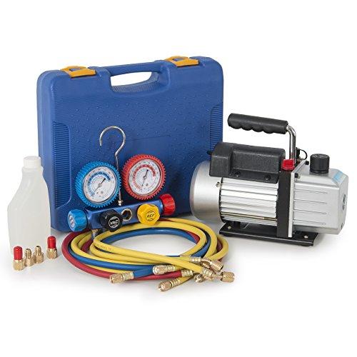 Standard Rotary Motor Vane Pump - ARKSEN 4CFM 1/3HP Vacuum Pump HVAC, 4-Valve Manifold Gauge, A/C Refrigeration Charging Service (R410a, R-22, R404a)