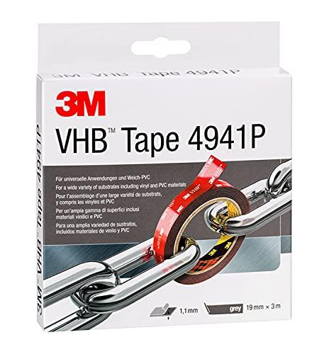 3M VHB 7000072418 Cinta Adhesiva para Materiales Diferentes Combinados, 19 mm X 3 m, 1.1 mm, 1 unidad, Gris