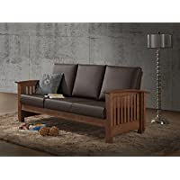 Baxton Studio Chalice Modern Classic Mission Style Walnut Wood Dark Brown Faux Leather 3 Seater Sofa