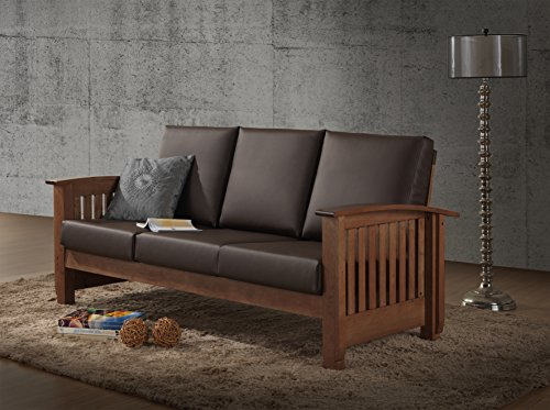 Baxton Studio Chalice Modern Classic Mission Style Walnut Wood Dark Brown Faux Leather 3 Seater Sofa, Brown ()