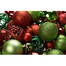 100 Red and Green Christmas Ornament Balls Shatterproof + 100 Metal Ornament Hooks, Hanging Ornaments For indoor/Oudoor Christmas Tree, Holiday Party, Home Decor
