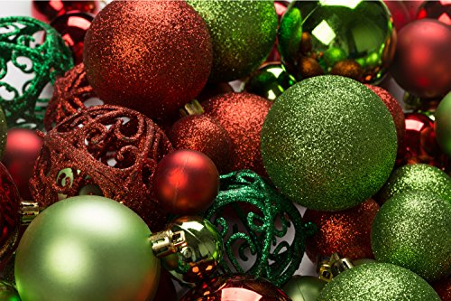 100 Red and Green Christmas Ornament Balls Shatterproof + 100 Metal Ornament Hooks, Hanging Ornaments For indoor/Oudoor Christmas Tree, Holiday Party, Home Decor (Winter Red Ornaments)