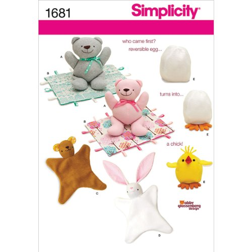 - Simplicity 1681 Bear Blanket/Animal Blanket Chick Toy Sewing Pattern, Size OS (One Size)
