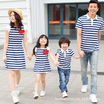 146a5b5c404a 2018 Summer Family Matching Clothes Mother Daughter Dresses Striped Mommy  and me Dress Father and Baby Son t Shirt Clothes   White