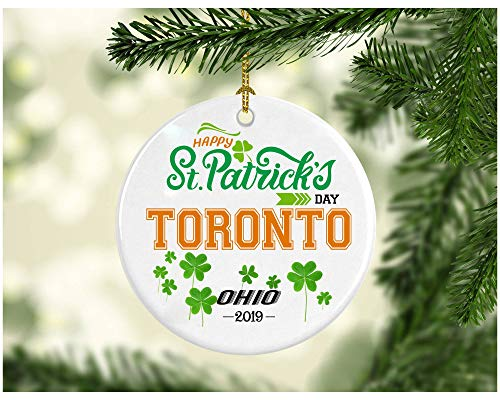 St Patricks Day Ornaments Decorations - Personalized Hometown State - St Patricks Day Gifts Toronto Ohio - Ceramic 3 -