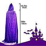 Kurop Womens Full Length Velvet Hooded Cape