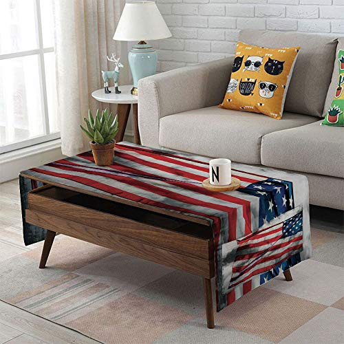 iPrint Linen Blend Tablecloth,Side Pocket Design,Rectangular Coffee Table Pad,American Flag,Banner in The Sky on Cloudy Mist Display National Symbol Proud of Heritage,Grey Red Blue,for Home Decor