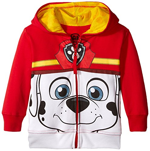(Nickelodeon Toddler Boys' Paw Patrol Character Big Face Zip-Up Hoodies, Marshall Red, 5T)