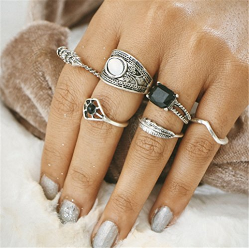 6 Pieces Set Ring Joint Ring Vintage Diamondd Feather Carved Jewelry