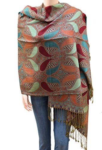egant Paisley Pattern Double Layered Woven Multi-Color Pashmina Silky Shawl Scarf for Women (Dark Red Teal and Green) ()