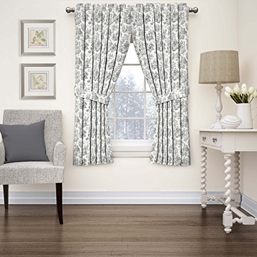 Waverly 15402052063OYX Charmed Life 52-Inch by 63-Inch Toile Single Window Curtain Panel, Onyx