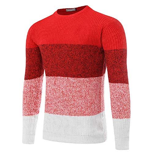 Rojo Manga Larga Hombre Oudan Cuello De Con Para Redondo Suéter L Tamaño Rojo color 4wq1T
