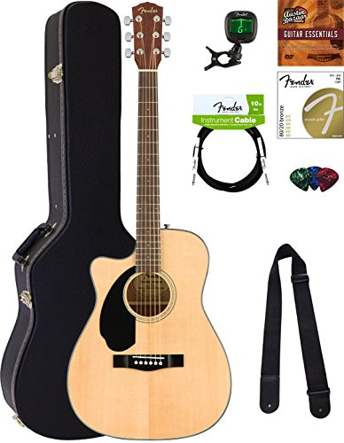 Acoustic Electric Guitar Natural Gloss - Fender CC-60SCE Concert Acoustic-Electric Guitar - Left Handed, Natural Bundle with Hard Case, Tuner, Strap, Strings, Picks, Instructional DVD, and Austin Bazaar Polishing Cloth