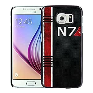 Genuine Samsung Galaxy S6 Mass Effect N7 Black Screen Phone Case Luxurious and Handmade Cover