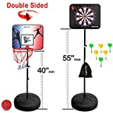 Dunk it Darts Magnetic Dart Board and Basketball Game - 2 Fun Kids Games in 1. So Easy to Adjust The Height, Your Kids Will Literally Grow up with it. A Fun Safe Addition to Any Indoor Boys Games Room