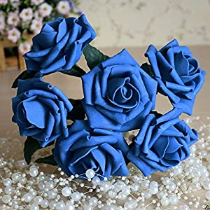 FidgetGear 72 Royal Blue Foam Roses Artificial Flowers Colorfast for Wedding Centerpieces 90