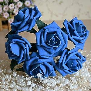 FidgetGear 72 Royal Blue Foam Roses Artificial Flowers Colorfast for Wedding Centerpieces 96