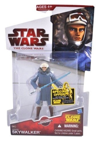 Star Wars 2010 The Clone Wars Series 4 Inch Tall Action Figure - CW42 ANAKIN SKYWALKER with Cold Weather Gear and Blue Lightsaber]()