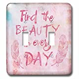3dRose Andrea Haase Inspirational Typography - Watercolor Typography Find The Beauty In Every Day - Light Switch Covers - double toggle switch (lsp_271232_2)