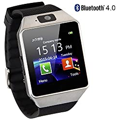 Smart Watch Bluetooth Touch Screen Gtbonad Wearable Multi-function Wristwatch For Android Phone Support Simtf Card With Camera(silver)