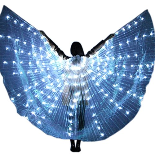 Zoomarlous Women LED Light Isis Wings Belly Dance Costumes 360 Degree Sticks Performance Dancing Supplies Props ()