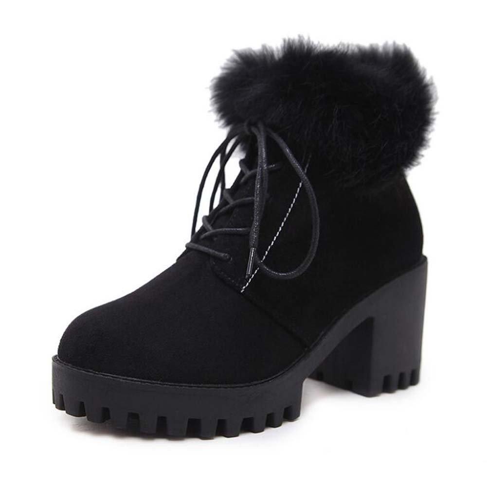 7.5cm Chunkly Heel 2.5cm dicke Plattform Kleid Stiefel Martin Stiefel Frauen Süße runde Kappe Schuhputz Plüsch Schnee Stiefel Ritter Stiefel Eu Größe 34-40