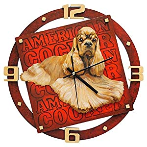 """Wall Clock""""American Cocker Spaniel"""", made of wood (MDF), hand-painted with acrylic paint 1"""