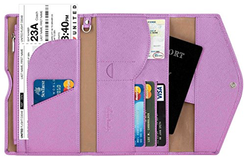 Travelambo Rfid Blocking Passport Holder Wallet & Travel Wallet Envelope Various Colors(light purple)