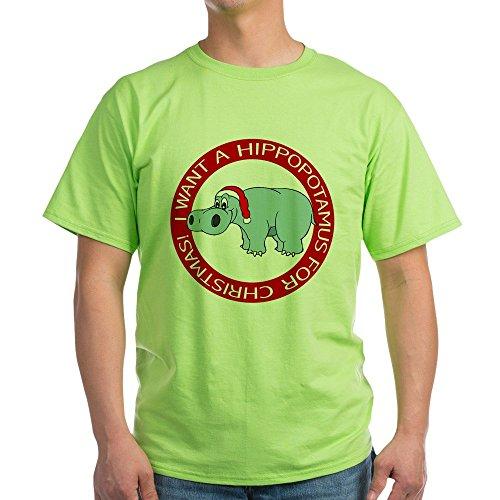 CafePress Christmas Hippo Ash Grey T-Shirt 100% Cotton T-Shirt