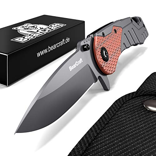 BearCraft Folding Knife | Outdoor Survival pocket knife with wood insert | Small one-hand knife made of stainless steel | Ideal for recreational work hiking camping