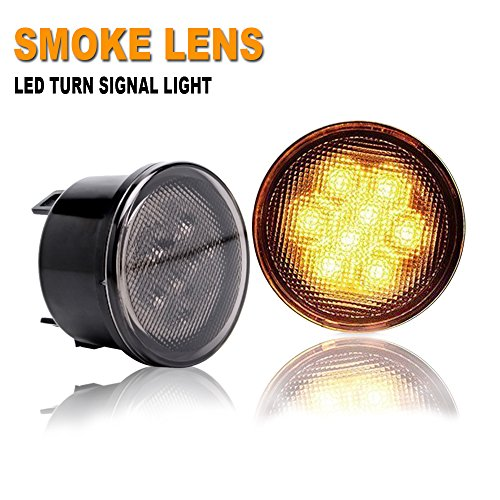 Lamp Signal Amber (TURBOSII 2PCS Smoked Lens Amber LED Front Turn Signal Lights Assembly - Turn Lamp Side Maker Parking Light Lamps for 2007-2018 Jeep Wrangler JK 2/4 door)